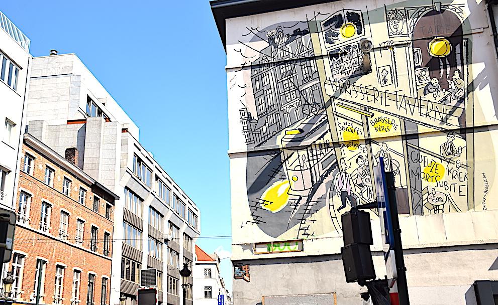 Circuito de los murales del cómics en Bruselas-El mural de Monsieur Jean.