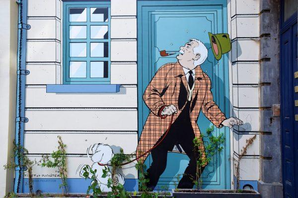 Mural Ric Hochet - Tour del cómic por Bruselas.