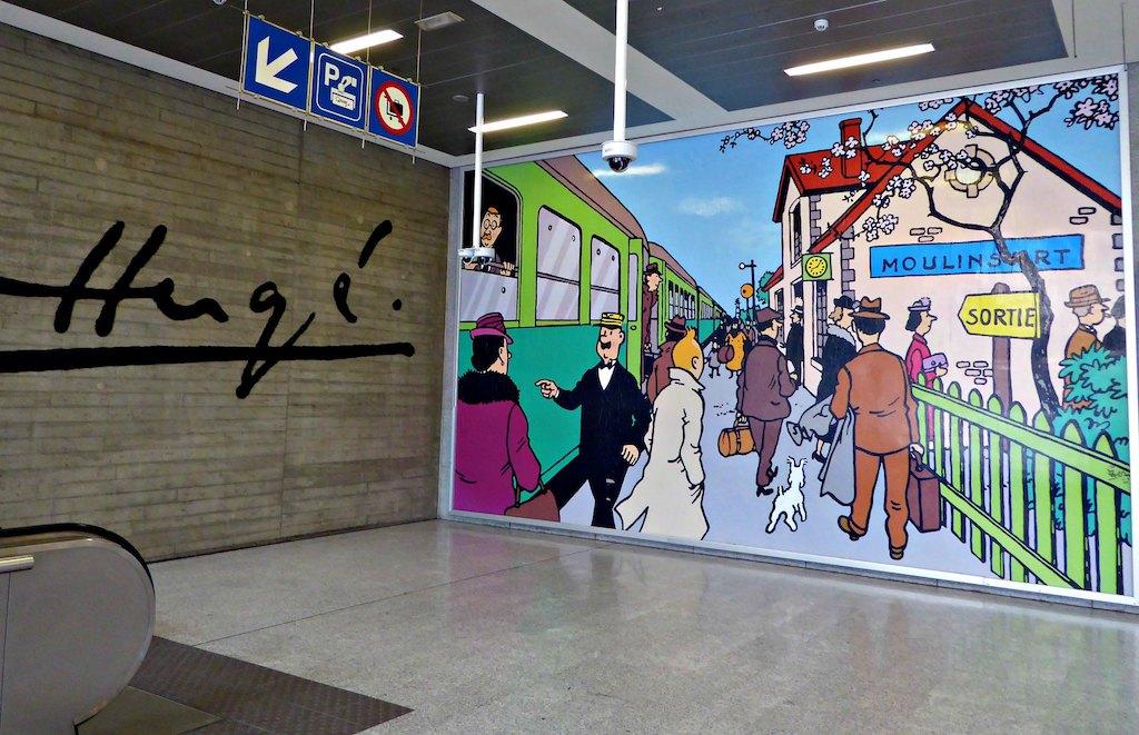Tintin en  America. Circuito de los murales del cómics en Bruselas