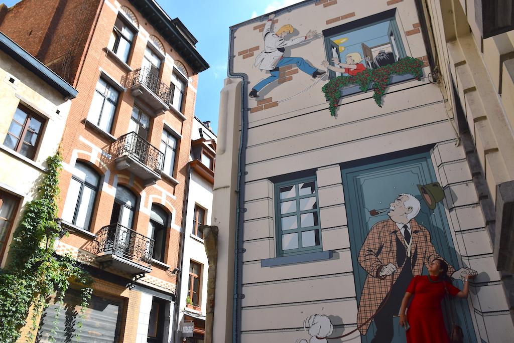Circuito de los murales de cómics en Bruselas, Mural - Ric Hochet. -Ric Hochet.