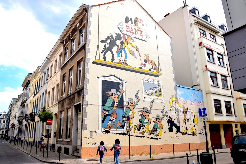 Circuito de los murales de cómics en Bruselas-Mural Morris – Lucky Luke