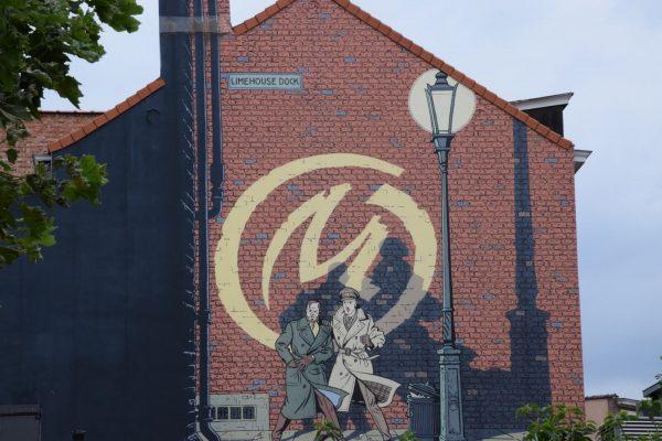 Mur BD Blake et Mortimer - Le parcours de la BD à Bruxelles.