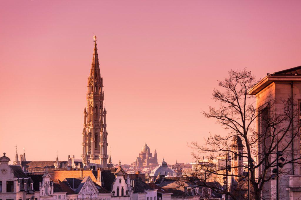 Couché de soleil sur Bruxelles - Flèche de l'hôtel de ville de Bruxelles et Basilic de Koekelberg