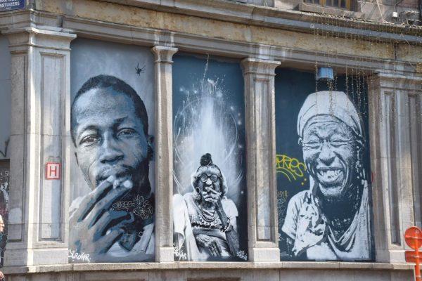 Fresque murale des artistes Dr. Bergman, Ose et BZT22 - Le street art à Bruxelles