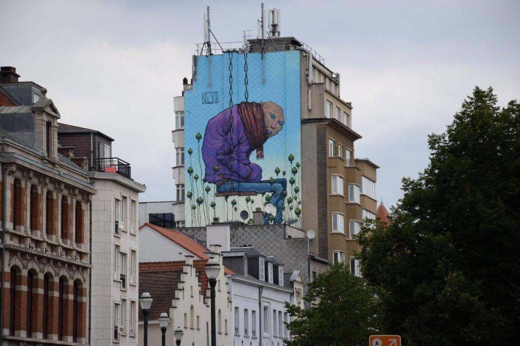 Fresque signée Bozko - Le street art à Bruxelles