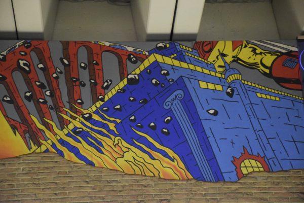 Art in the Brussels metro - Ribaucour Metro Station, Le feu de Néron - La bataille des Stylite