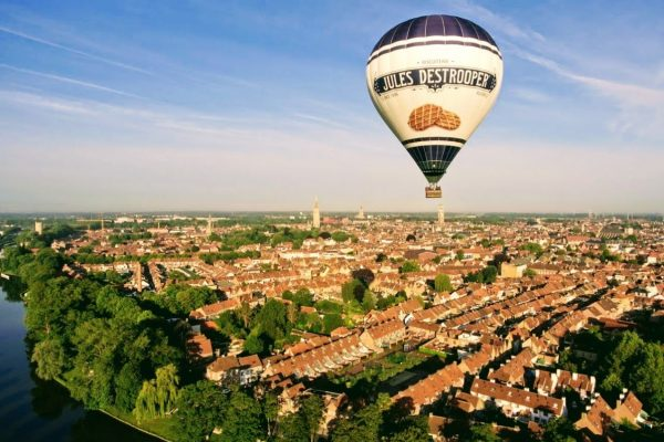Hot air balloon flight over Bruges