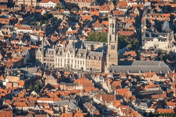 Hot air balloon flight over Bruges - The Markt (Market Square) of Bruges seen from the sky