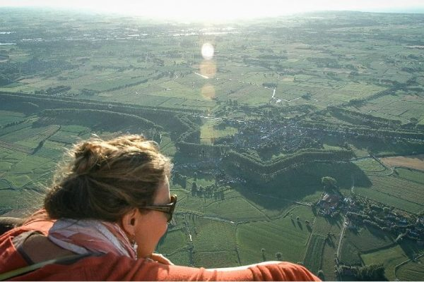 Hot-air balloon flight over the city of Bruges and its surroundings