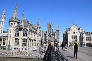 St Michael's Bridge and Medieval towers of Ghent - The free tour of Ghent.