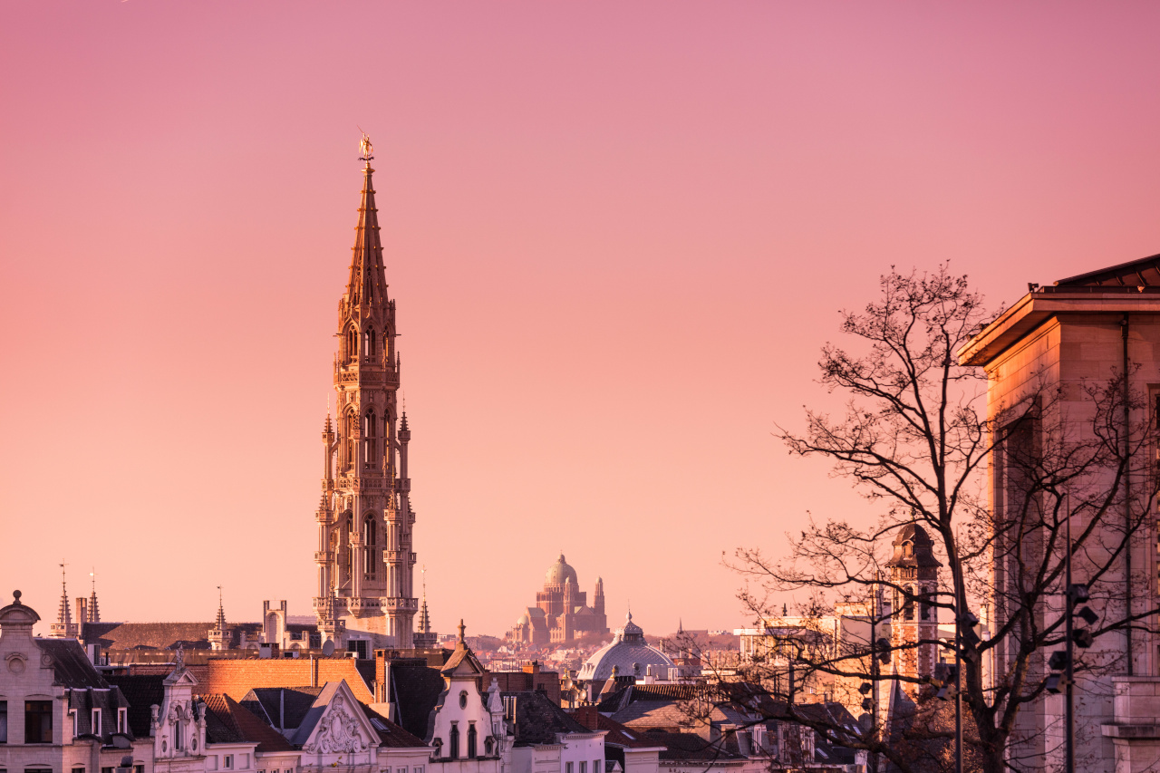 Sunset over Brussels - Brussels City Hall Tower and Basilic of Koekelberg.
